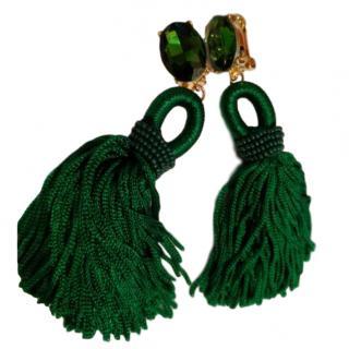 Oscar De La Renta Green Crystal Silk Beaded Tassel Clip Earrings