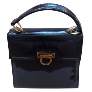 Ferragamo Small Navy Omega Top Handle Flip Lock bag
