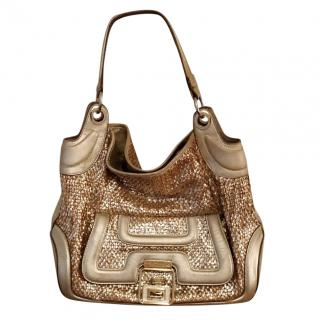 Anya Hindmarch Gold leather woven handbag