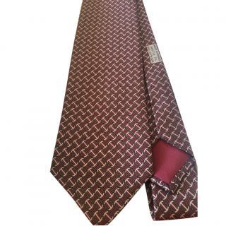 Hermes Men's Printed Silk Tie