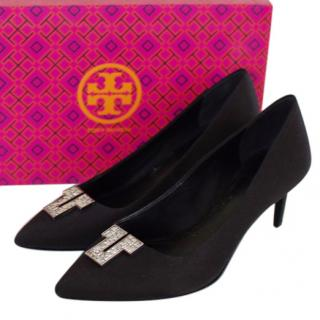 Tory Burch Embellished Satin Pumps