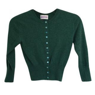 Brora Cashmere Cropped Green Cardigan