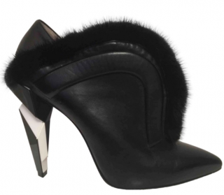 Fendi Mink Fur Trim Ankle Boots