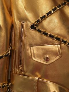 H&M x Moschino gold leather jacket