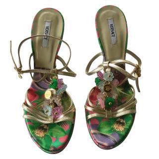 Versace Gold Embellished Sandals
