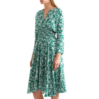 Maje Rayelle shirred flower print crepe midi dress Size 2