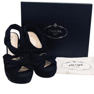 Prada Black Bandage Sandals
