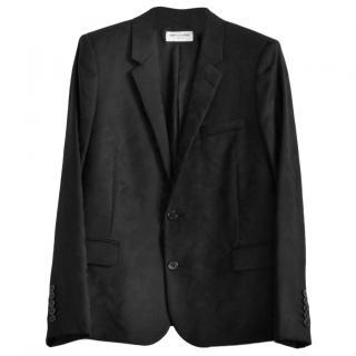 Saint Laurent Black Camouflage Jacquard Blazer