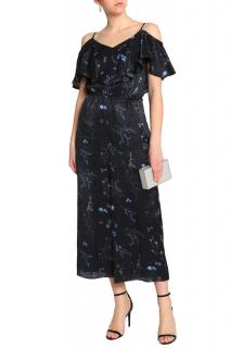 Rachel Zoe Cold-Shoulder Ruffled Floral-Print Silk-Satin Jumpsuit