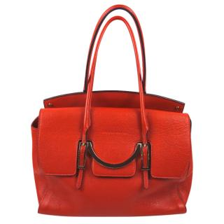 Coccinelle orange tote bag with silver hardware