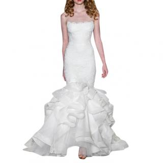 Reem Acra Fitted Embroidered Lace Wedding Dress