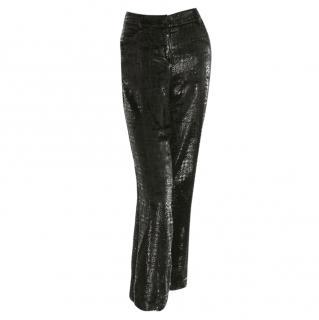 Chanel metallic black plaid trousers