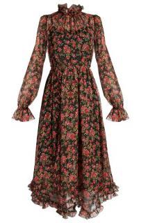 Dolce & Gabbana Rose-Print Silk Chiffon Midi Dress