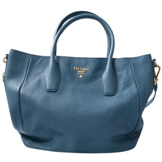 Prada Vitello Daino Marine Blue Pebbled Leather Tote Bag