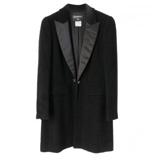 Chanel Black Boucle Satin Lapel Coat