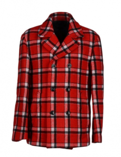 Marc by Marc Jacobs Men's Red Plaid Wool Jacket
