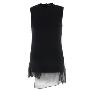 Joseph Wool & Cashmere Sleeveless Top with Silk Layered Hem