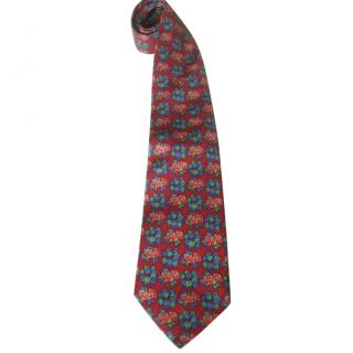 Leonard Paris Red Floral Tie