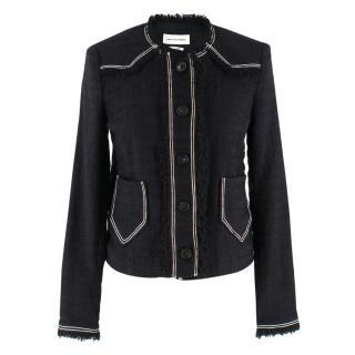 Isabel Marant Etoile Black Tweed Collarless Jacket