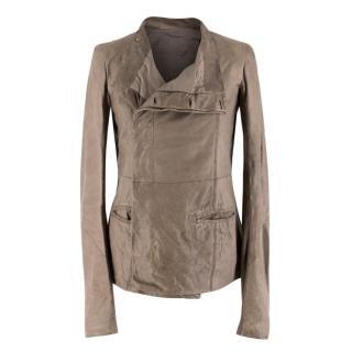 Rick Owens Taupe Leather Jacket