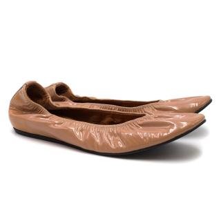 Lanvin Nude Patent Leather Elasticated Ballet Flats