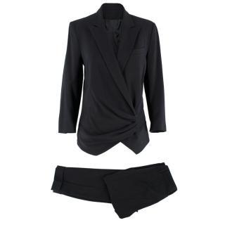 Alexander McQueen Black Ruched Suit
