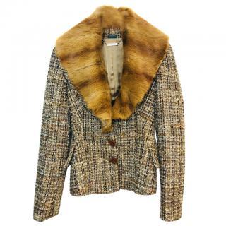 Alexander McQueen Tweed Fur Collar Jacket