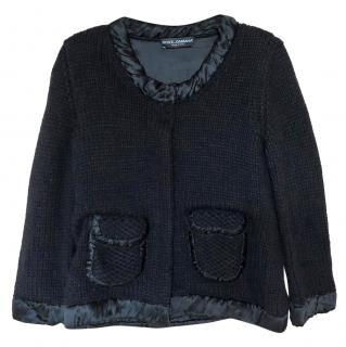 Dolce & Gabbana knit cardigan with silk satin trims