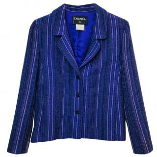 Chanel Purple Striped Wool Jacket