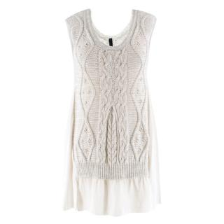 High Everyday Couture Cable Knit & Chiffon Sleeveless Top