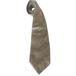Sonia Rykiel Silver Grey Taupe Snakeskin Motif Neck Tie