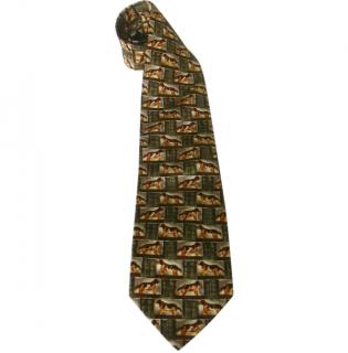 Dunhill Spaniel Dogs Motif Silk Neck Tie