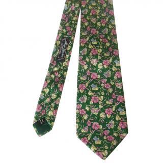 Alain Figaret Paris Green Floral Butterflies Motif Silk Neck Tie