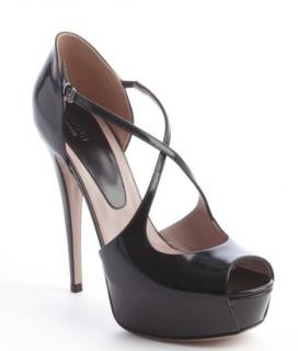 Gucci Patent Leather Lili Cross Strap Platform Sandals