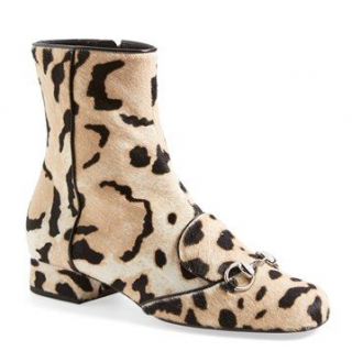 Gucci 'Lillian' Horsebit Animal Print Calf Hair Short Booties