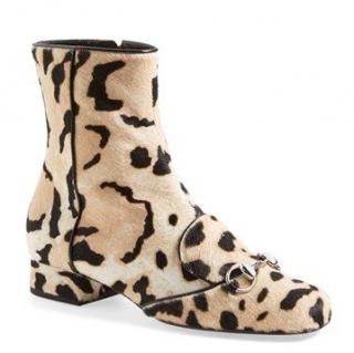 Gucci 'Lillian' Horsebit Animal Print Calf Hair Short Booties
