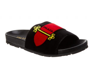 Prada Velvet Buckle Sliders