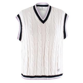 Valentino White Cableknit Vest
