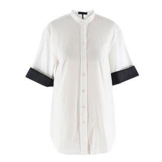 Jil Sander Collarless Contrast Trim Shirt