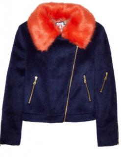 Shrimps Wool Blend Faux Fur Collar Biker Jacket