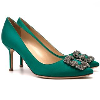 Manolo Blahnik Satin Emerald Hangisi 70mm Pumps