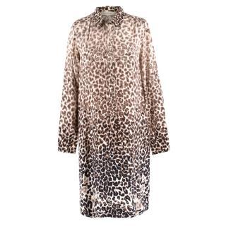 Gerard Darel Silk Leopard Print Shirt Dress