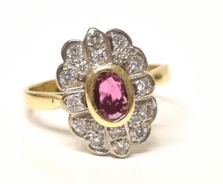 Bespoke Vintage Ruby & Diamond Cluster Ring 18ct Gold