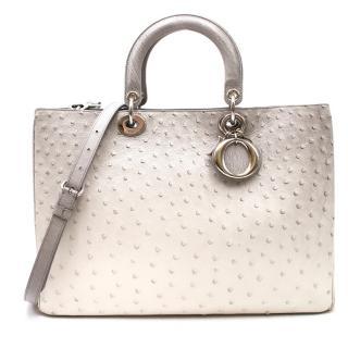 Dior Large Diorissimo Silver Ombre Ostrich Bag
