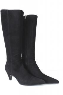 Prada Suede Tall Kitten Heel Boots