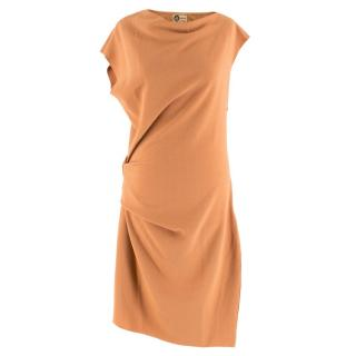 Lanvin Burnt Orange Gathered Asymmetric Dress