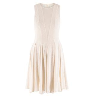 Zimmerman Cream Silk Sleeveless Skater Dress