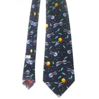 Christian Dior Whimsical Train Moon and Sun Silk Neck Tie