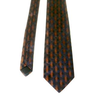 Lanvin Brown and Black Woven Motif Silk Neck Tie