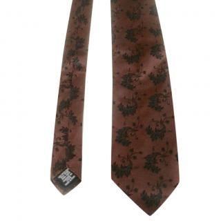 Hugo Boss Brown and Black Woven Silk Leaves Motif Neck Tie